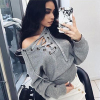 SIMPLE - autumn winter bandage sexy slim off Shoulder strappy v-Neck Sweatshirt a13544