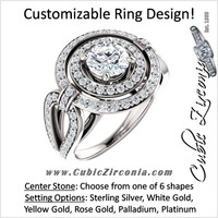 Cubic Zirconia Engagement Ring- The Jill (Customizable Center Double Halo with Ultrawide Split-Band Pave)