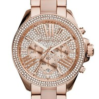 Women's Michael Kors 'Wren' Pave Chronograph Acetate Link Bracelet Watch, 42mm - Rose Gold/ Blush