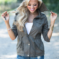 3/4 Sleeve Military Style Hooded Jacket Olive