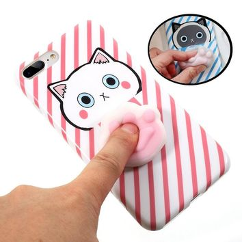 For iPhone 7 Cases & 7 Plus 3D Squishy Squeeze Slow Rising Cat Claws Soft TPU