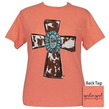 Girlie Girl Originals Preppy Turquoise Cow Cross T-Shirt