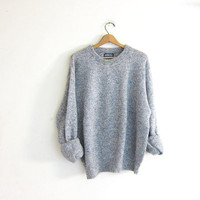 vintage speckled blue Land's End sweater. oversized wool sweater. chunky pullover.