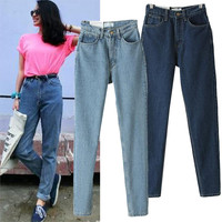Free Shipping Women's Clothes Europe Stars aa Washed Denim Boyfriend Mother Jeans Ladies Harem Cargo Pants Girls Trousers Gifts