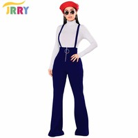 JRRY Casual Spaghetti Strap Loose Women Jumpsuit Zippers Long Wide Leg Pants Ladies Romper Overall
