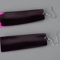 Long Earrings Made of Polished Cow Horn