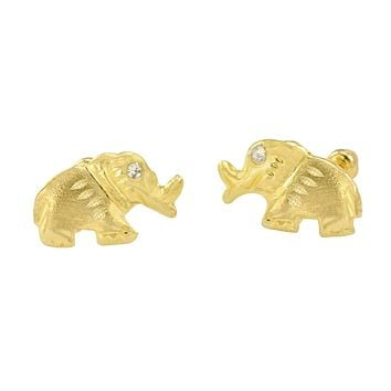 Elephant Stud Earrings 10k Yellow Gold with Screwbacks Laser Cut with CZ 7x12