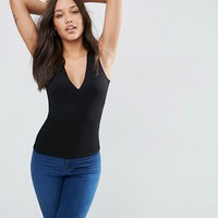 ASOS Sleeveless Plunge Neck Top at asos.com