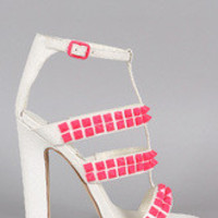 Women's Privileged Neon Studded Caged Open Toe Heel