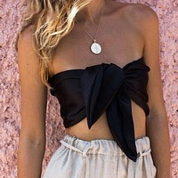 Sexy Women Satin Lace up Tube Top Beach Tank Camis Casual Holiday Tops Blusa Women Tops Blouse