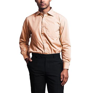 Regular Fit Long Sleeve Dress Shirt - Peach