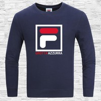 FILA 2018 autumn new round neck sports and leisure trend long-sleeved sweater Blue