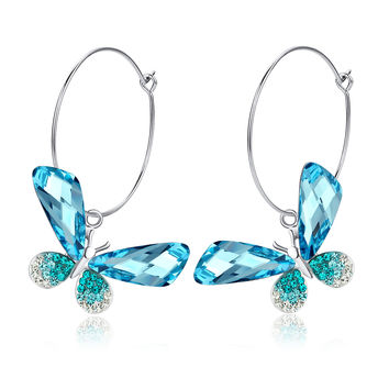 Butterfly Hoop Swarovski Elements Crystal Earrings - Blue & Green
