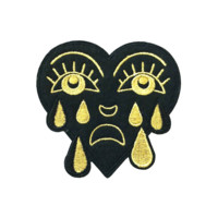 Metallic Gold Crying Heart Patch