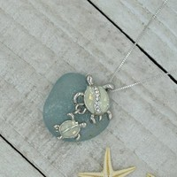 925 sterling silver necklace, heart necklace, sea glass jewelry