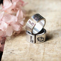 African Love,Silver Elephant and Giraffe Ring,Animal Jewelry,Best Gift