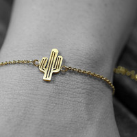 Gold or Silver plated brushed stainless steel cactus adjustable  chain bracelet (BR00015)