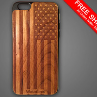 American flag wooden iPhone 6 case, protective hybrid rubber and wood, american flag case, iphone 6, galaxy s3, galaxy s4, galaxy s5