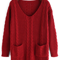 Red Double Pocket Cable-Knit Sweater