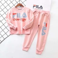 Fila Girls Boys Children Baby Toddler Kids Child Fashion Casual Top Sweater Pullover Pants Trousers Two Piece Set