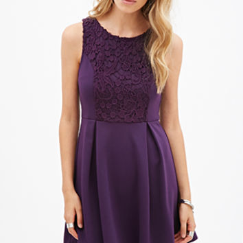 FOREVER 21 Crochet Lace Fit & Flare Dress Eggplant