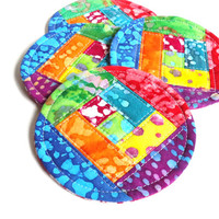 Rainbow Quilted Coaster Set, Batik Fabric Coasters, Colorful Mug Rugs