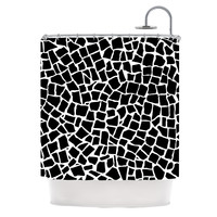 "Project M ""British Mosaic Black"" Shower Curtain"