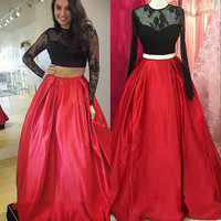 Unique Lace Two Piece Ball Gown Prom Dresses Girls Satin Black Red Prom Dress Long Sleeve Prom Gowns For Party Dresses RT54