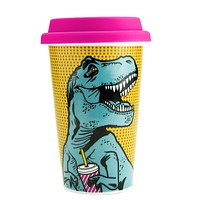 T-Rex Ceramic Double Wall Travel Mug in Pop Art Multicolor