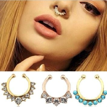 2pcs Cute Small Fake Rhinestone Nose Ring, Tribal Silver Faux Septum Piercing = 5987985665