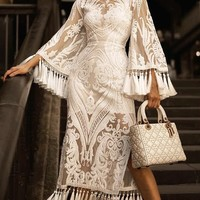 Hollywood Legend White Sheer Mesh Sequin Lace Long Bell Sleeve Round Neck Tassel Fringe Bandage Maxi Dress - Sold Out