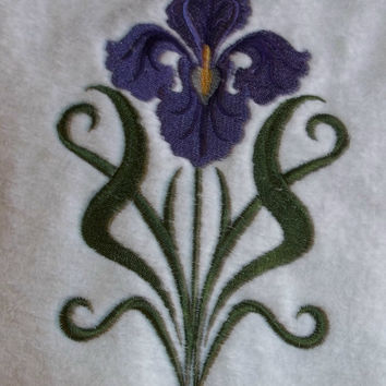 embroidered bath towels  purple iris flowers