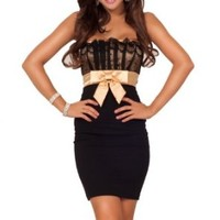 Womens Sexy Lace Stretch Fit Strapless Satin Bow Cocktail Party Mini Dress