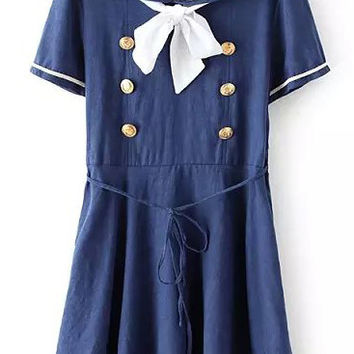 Blue Sailor Inspired Mini Dress with Color White Detail