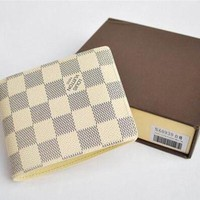 LV Louis Vuitton High Quality Trending Women Men Tartan Print Folding Leather Purse Wallet White I