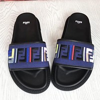 Fendi Women Fashion New Embroidery More Letter High Quality Shoes Slippers Blue