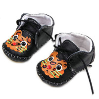 0-12M PU Leather Baby Shoes Toddler Kids Boy Girls Lace-Up Antislip First Walker ShoesUBY