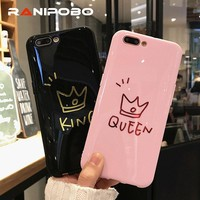 Fashion Glossy Crown KING QUEEN Couple Phone Case For iPhone X 6 6S Plus 7 7Plus 8 8Plus Cute Soft TPU Letter Back Cover Coque