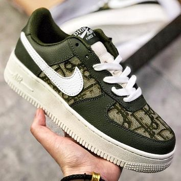 Alwayn Dior x Nike Air Force 1 Low New fashion more letter hook couple running shoes Army Green
