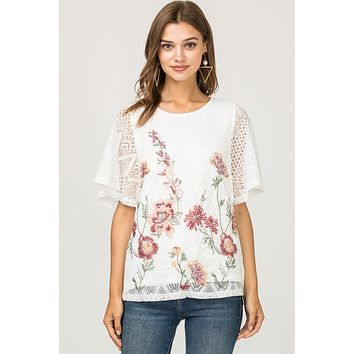 Entro Ivory Lace Trim Floral Embroidery Short Sleeve Top