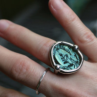 turquoise ring organic round glass large chunky sterling silver boho stained glass vine moss lichen etched glass BLUE LAGOON RING- size 5.5