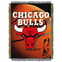 Chicago Bulls NBA Woven Tapestry Throw Blanket (48x60)