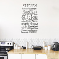 "Kitchen Words -SIZE IS 30"" X 50""- Decorative Subway Art Style Vinyl Wall Decal Sticker Art"