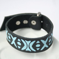 black leather bracelet wrap around wrist with engraved rustic  boho tribal  pattern blue - Free Shipping