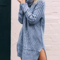 Autumn and winter new women's style retro long section high collar sweater sweater