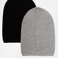 ASOS Slouchy Beanie Hat 2 Pack SAVE 17% at asos.com
