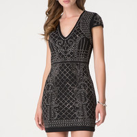 bebe Womens Studded Quilted Mini Dress Black