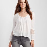 Long Sleeve Lace Accent Peasant Top -