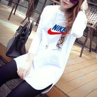 nike women casual all match multicolor letter print long sleeve t shirt irregular middle long section bottoming tops