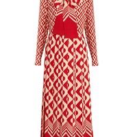 Long-sleeved geometric-print silk dress | Gucci | MATCHESFASHION.COM UK